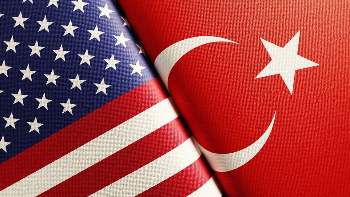 American And Turkish Flag Pair stock photo