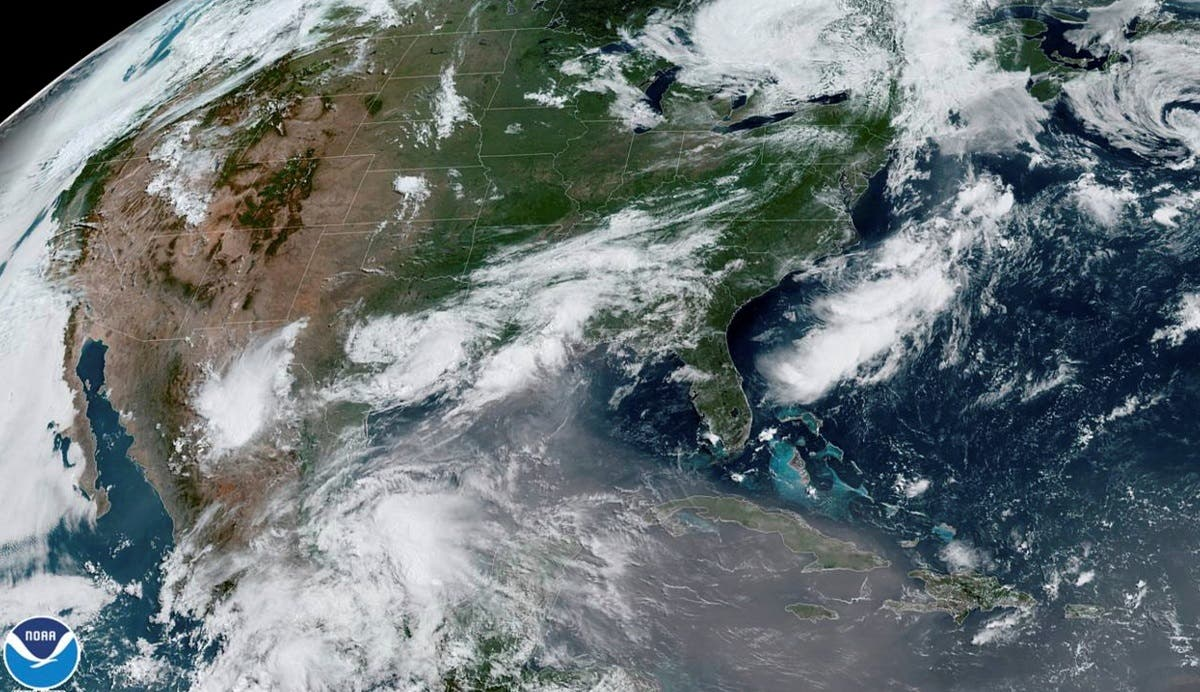 A plume of dust from the Sahara Desert approaches the United States from the Caribbean in an image from the National Oceanic and Atmospheric Administration (NOAA) GOES-East satellite June 24, 2020. (Reuters)