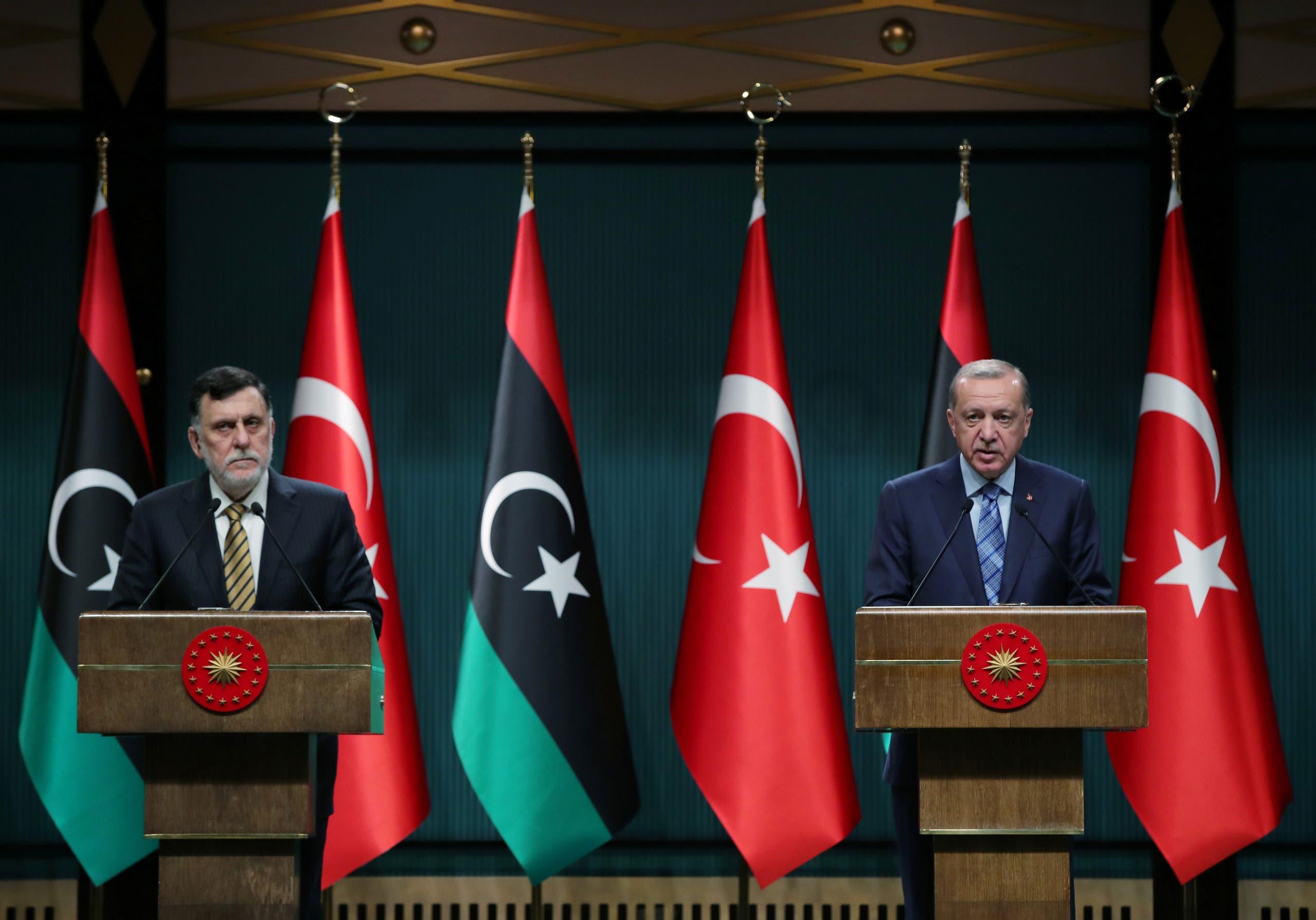Libya's UN-recognized Prime Minister Fayez al-Serraj is seen with Turkey's President Erdogan during their meeting in Tripoli, Libya. (Reuters)