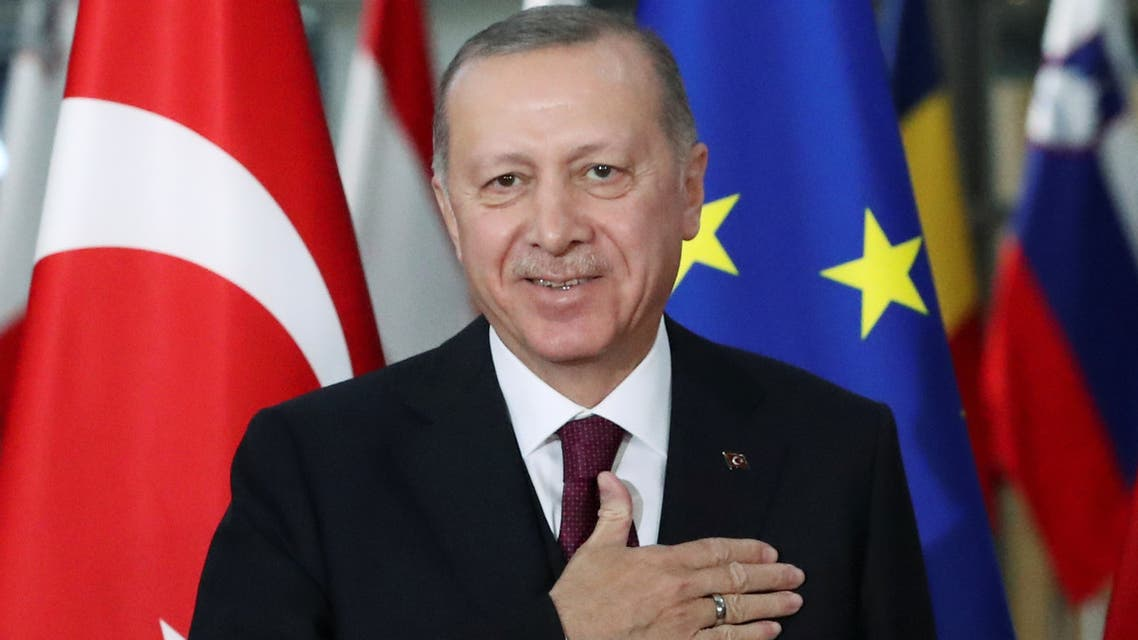 Turkish President Recep Tayyip Erdogan reacts ahead of a meeting with the EU in Belgium on March 9, 2020. (Reuters)
