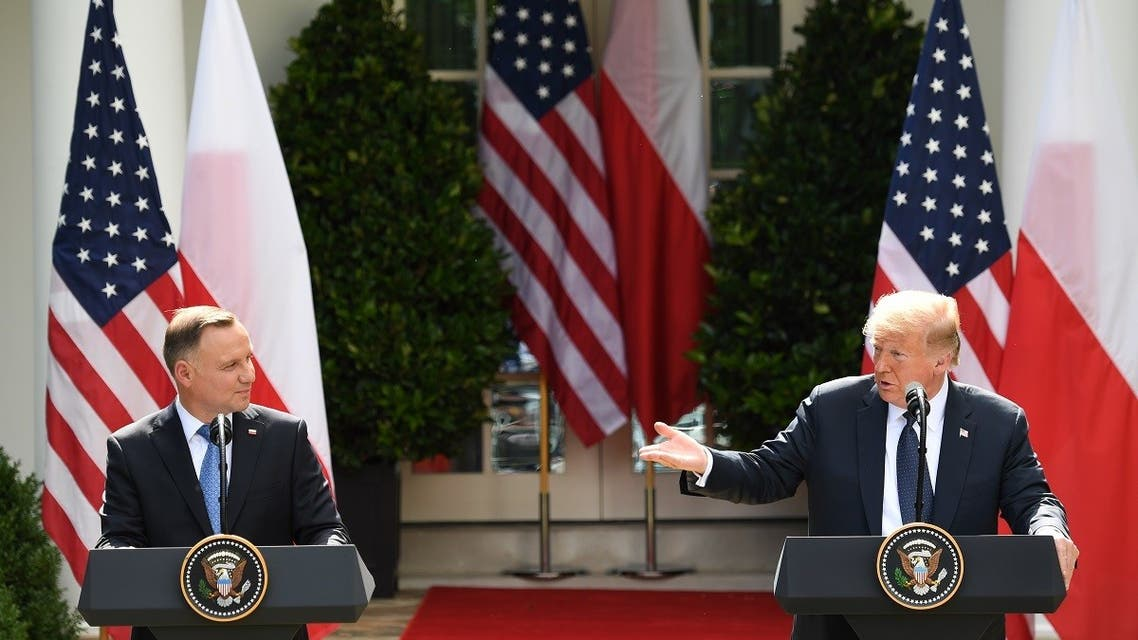 US President Donald Trump and Polish President Andrzej Duda hold a joint press conference in the Rose Garden of the White House in Washington, DC. (AFP)