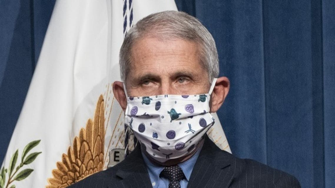 Director of the National Institute of Allergy and Infectious Diseases Dr. Anthony Fauci watches as Vice President Mike Pence speaks, June 26, 2020. (AFP)