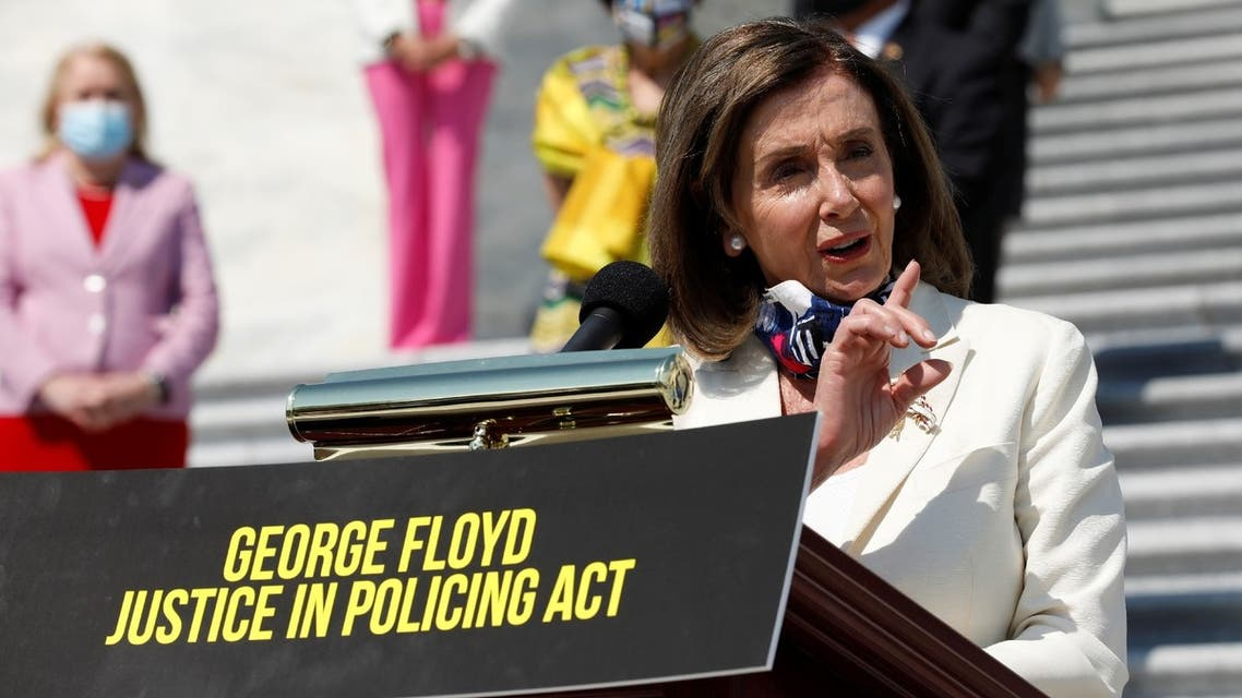 House Speaker Nancy Pelosi speaks about the George Floyd Justice in Policing Act on Capitol Hill in Washington, US, June 25, 2020. (Reuters)