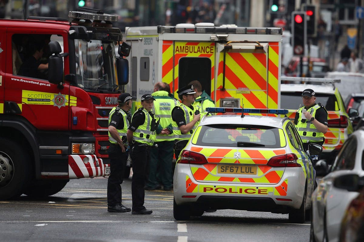 Emergency services attend the scene of the stabbing attack in Glasgow, Scotland, on June 26, 2020. (AP)