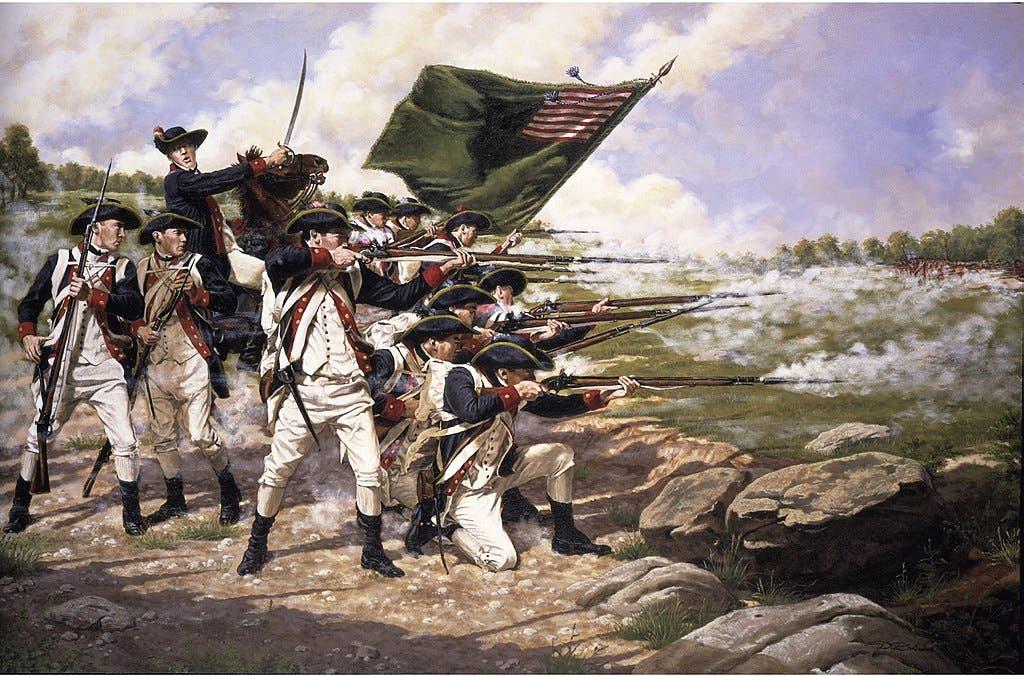 رسم يجسد إحدى المعارك خلال فترة حرب الاستقلال الأميركية