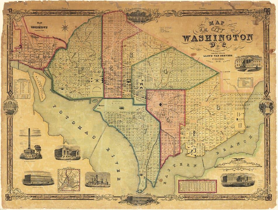 خريطة واشنطن دي سي عام 1851