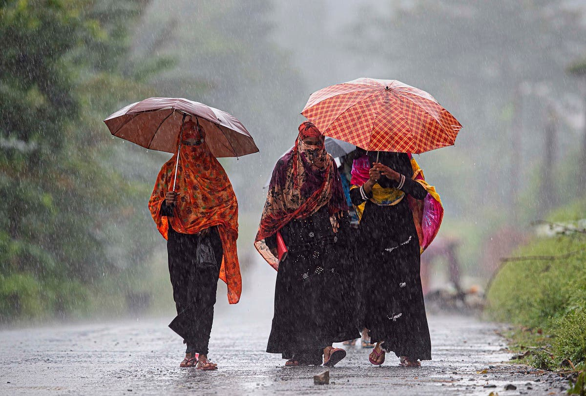 Villagers hold umbrellas and walk in the rain in Morigaon district of Assam, India, Friday, June 26, 2020. (AP)