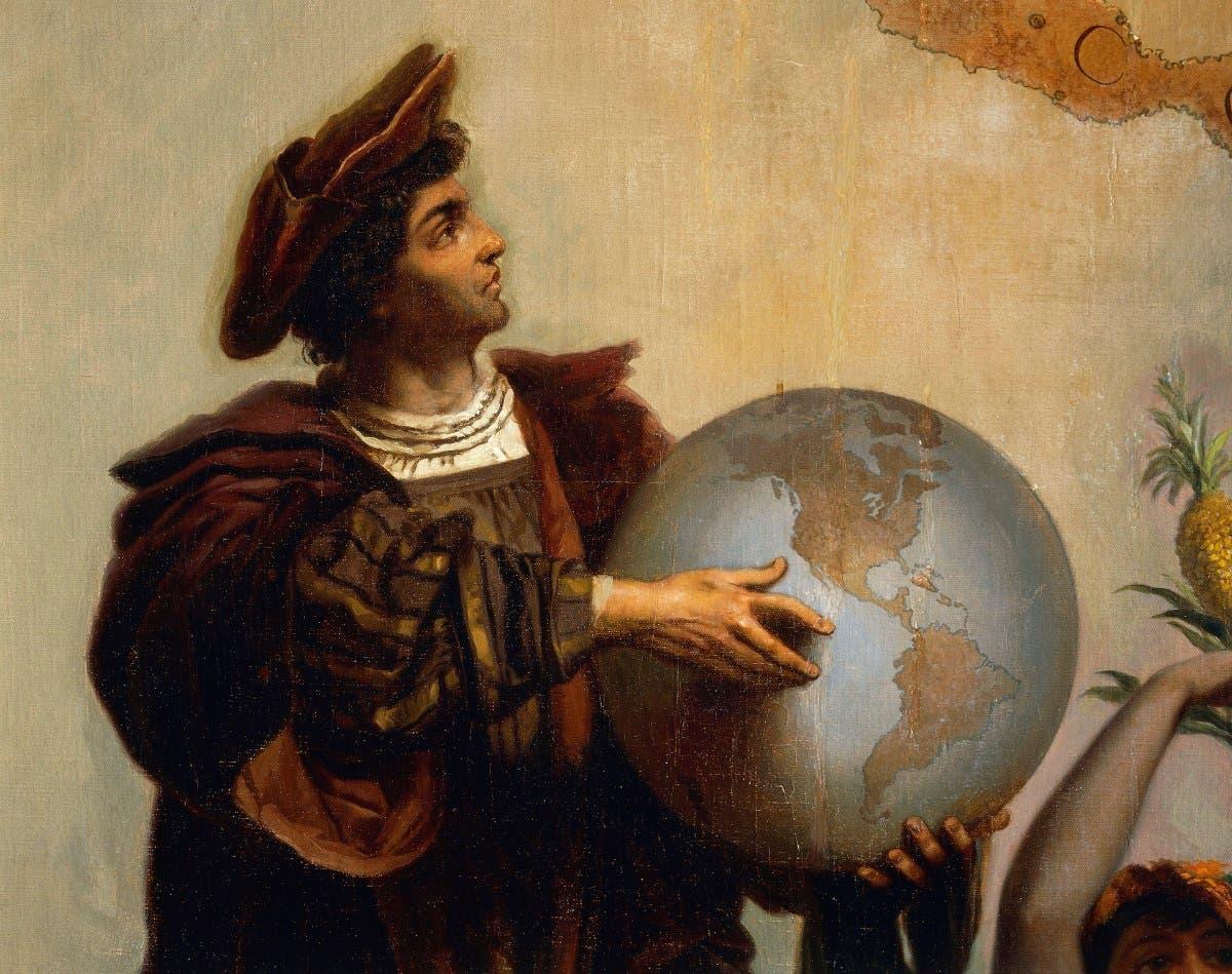 لوحة تخيلية تجسد الرحالة كريستوفر كولومبوس