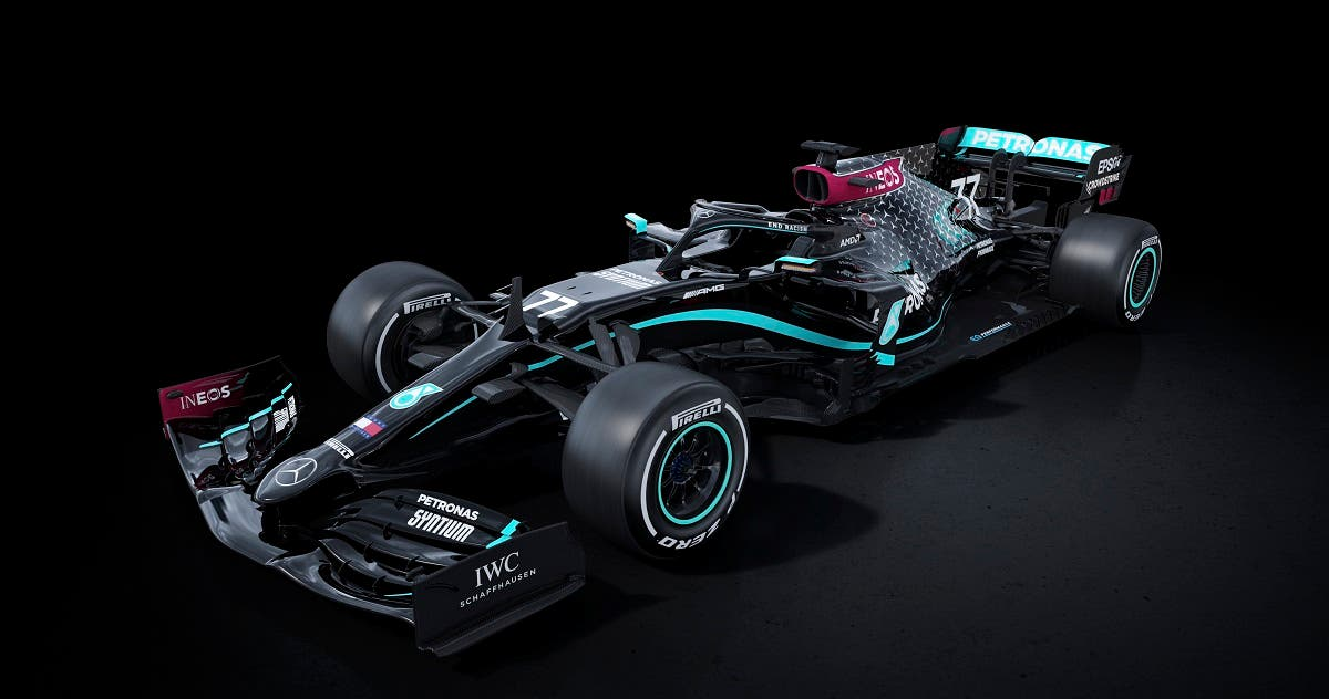 Mercedes have traditionally raced in silver but will switch to black and have 'End Racism' emblazoned on the halo of both cars. (Courtesy: Mercedes)