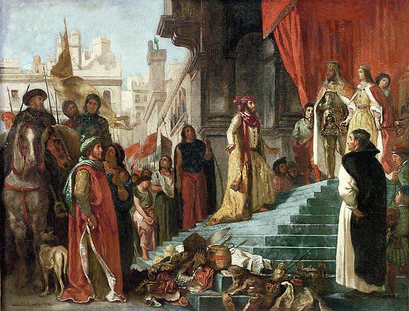 لوحة تجسد عودة كولومبوس ومثوله أمام ملك وملكة إسبانيا