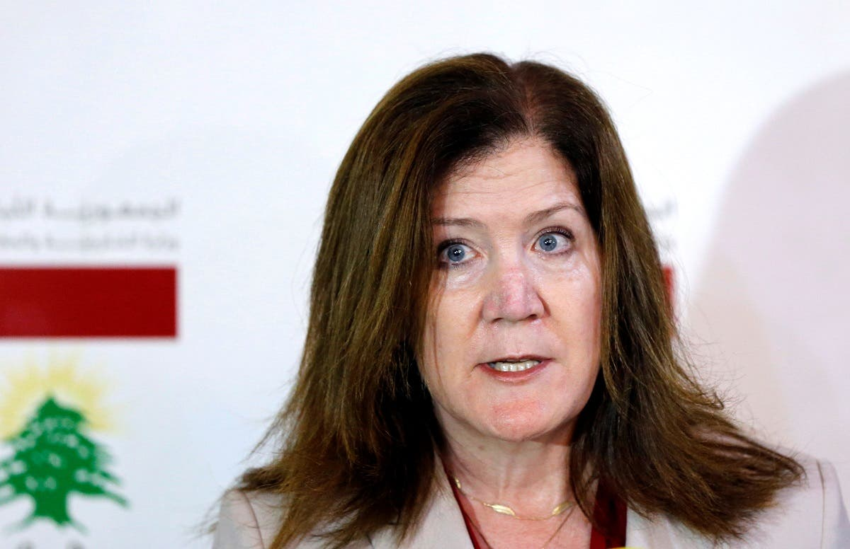 US Ambassador to Lebanon Shea speaks during a news conference in Beirut, June 29, 2020. (Reuters)