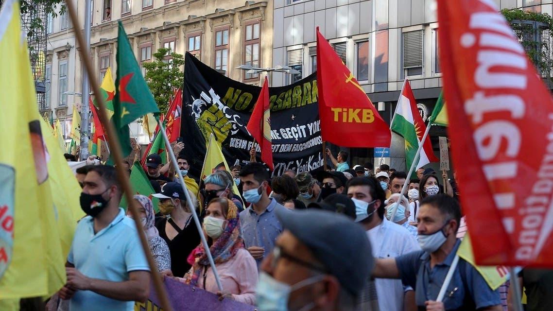 Kurdish demonstrators during a protest against Turks in Vienna, Austria, Saturday, June 27, 2020. (AP)