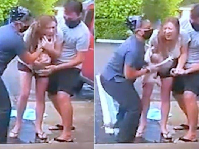 شاهد ولادة طفل أميركي من أم منتصبة على قدميها في العراء
