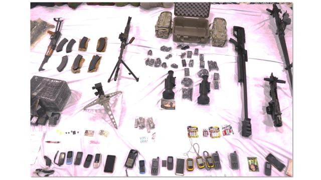Guns and mobile phones found on the dhow.