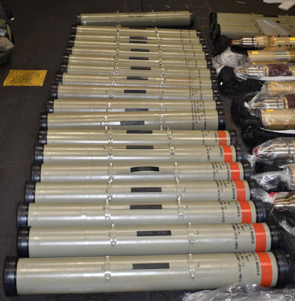 """Dehlavieh"" anti-tank guided missiles found onboard the dhow intercepted on November 25, 2019."