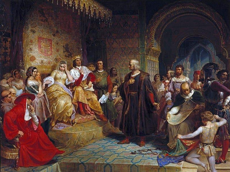 كولومبوس أثناء مثوله أمام ملك وملكة إسبانيا