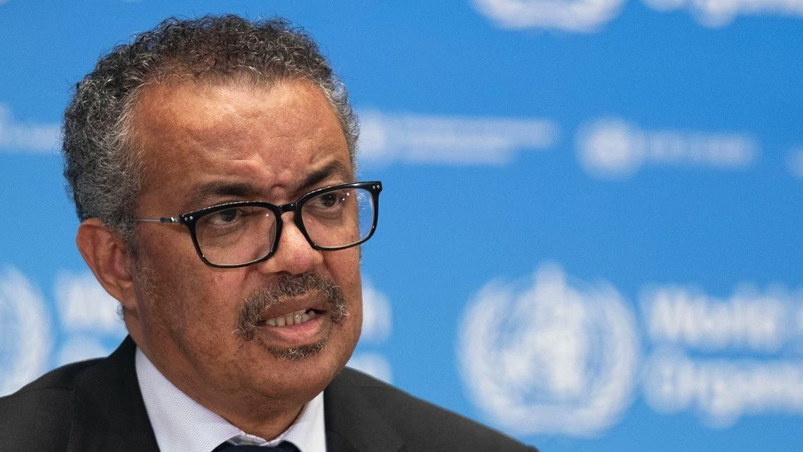 This handout image provided by the World Health Organization (WHO) on May 27, 2020 in Geneva shows WHO Director-General Tedros Adhanom Ghebreyesus during the launch of a new foundation for private donations, amid the COVID-19 pandemic,. (AFP)