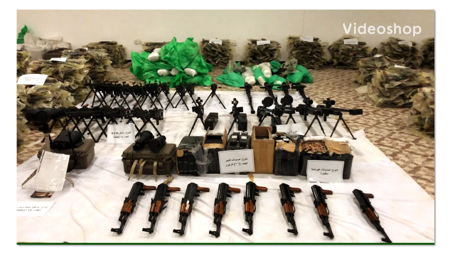 An image showing weapons and arms intercepted by the Arab Coalition. (Arab Coalition)