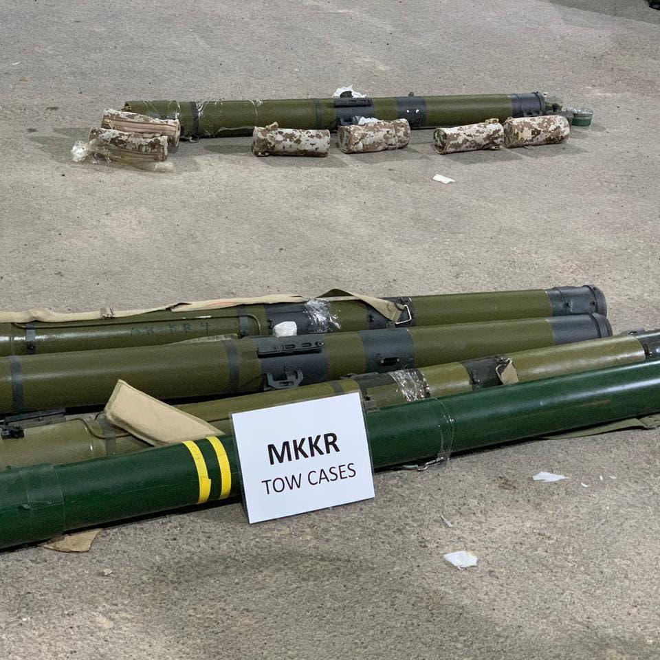 فيديو لأسلحة إيرانية ضبطها التحالف قبل وصولها للحوثي