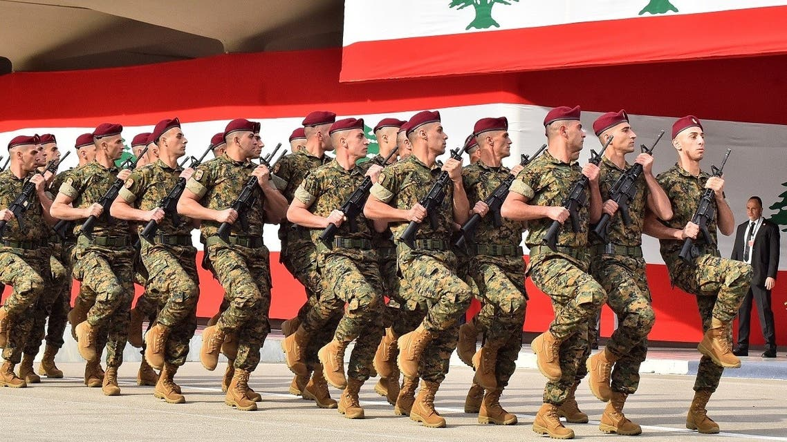 Lebanese army soldiers during a parade commemorating the 76th anniversary of Lebanon's independence at the Defense Ministry headquarters southeast of Beirut on November 22, 2019. (AFP)