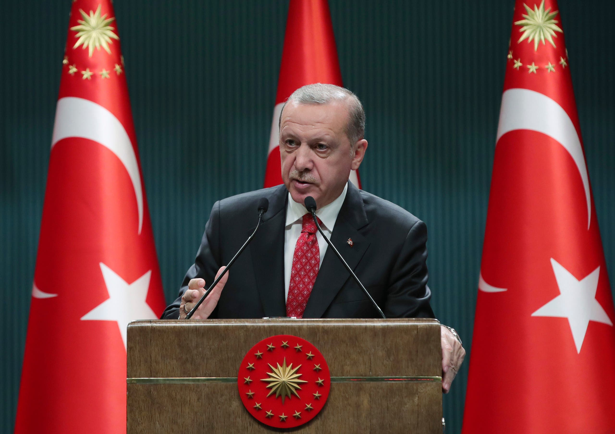 Turkish President Recep Tayyip Erdogan speaks in Ankara on June 9, 2020. (AP)