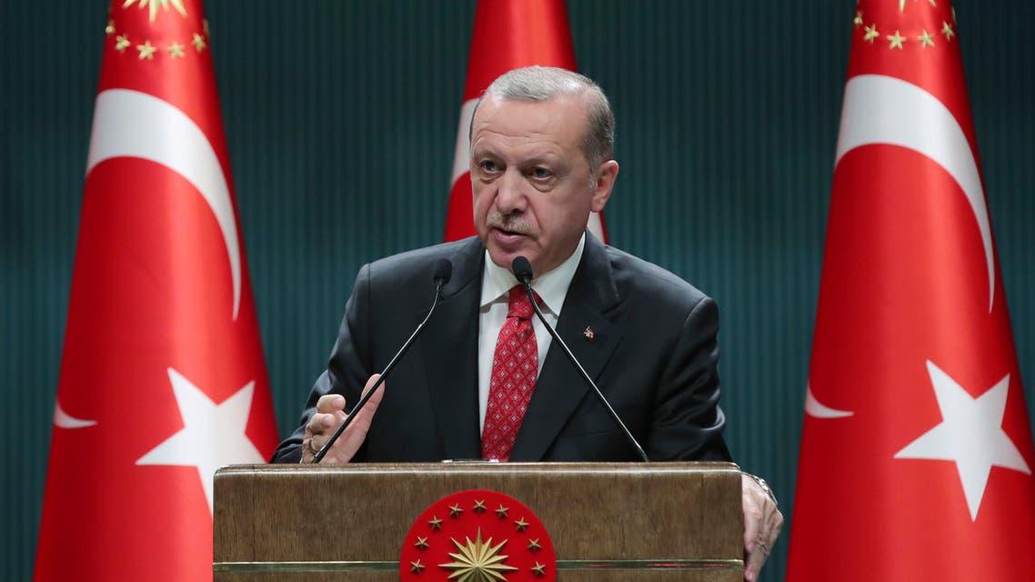 Turkish President Recep Tayyip Erdogan speaks in Ankara on June 9, 2020. (AP)