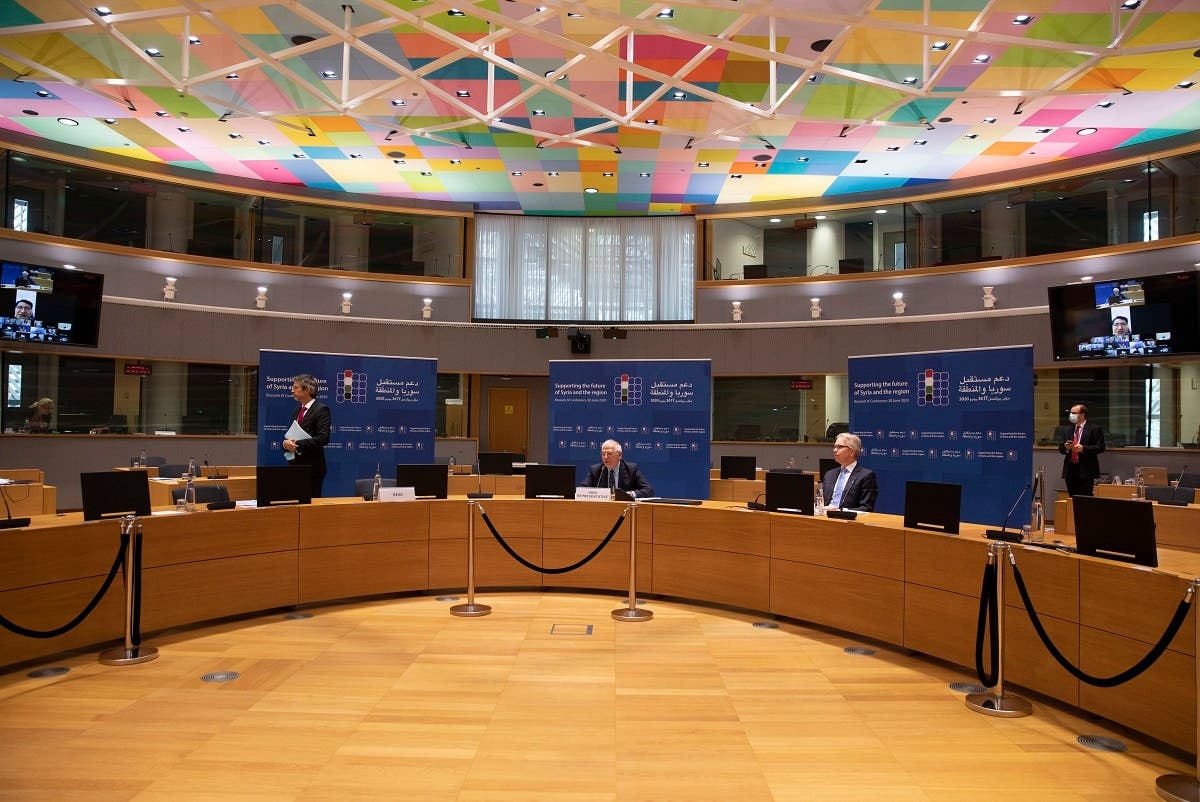Videoconference on 'Supporting the future of Syria and the Region' at the European Council building in Brussels on June 30, 2020. (AFP)