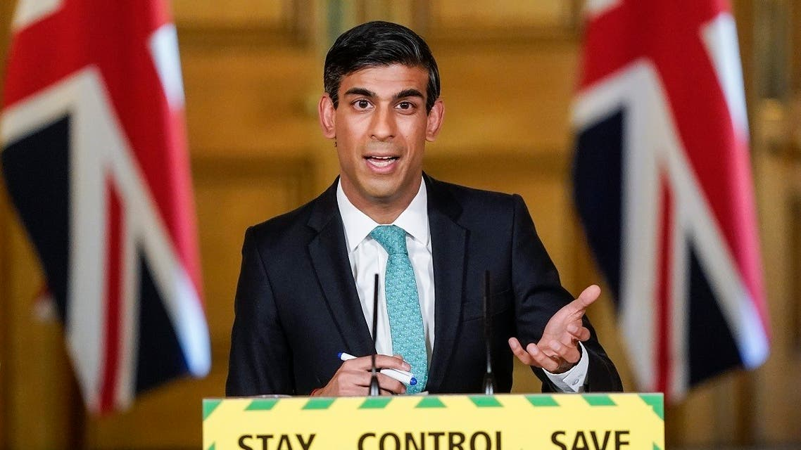 Britain's Chancellor of the Exchequer Rishi Sunak speaking at a remote press conference to update the nation on the COVID-19 pandemic, inside 10 Downing Street in central London on May 29, 2020. (AFP)