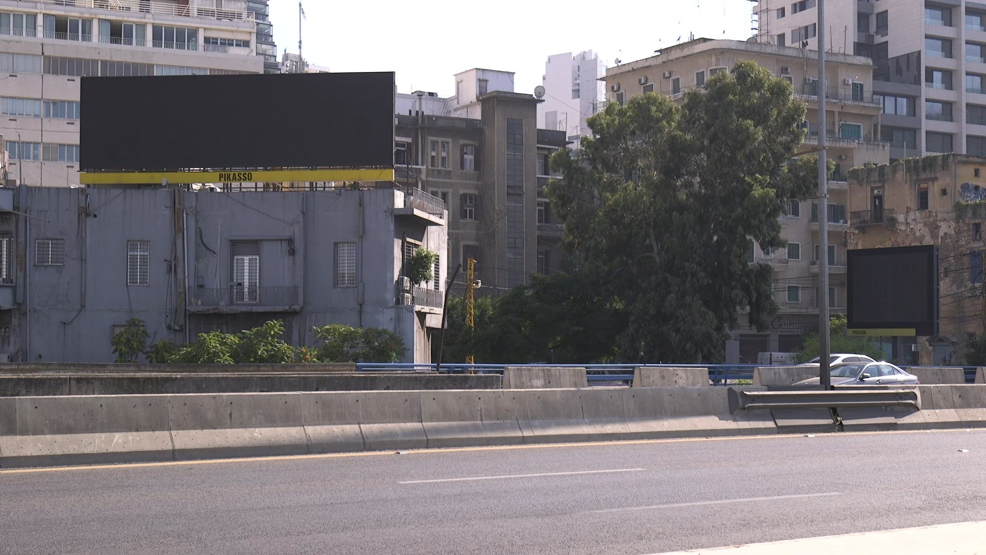 A blank billboard is shown in Lebanon amid the ongoing economic crisis that has been exacerbated by the coronavirus pandemic. (Screengrab)