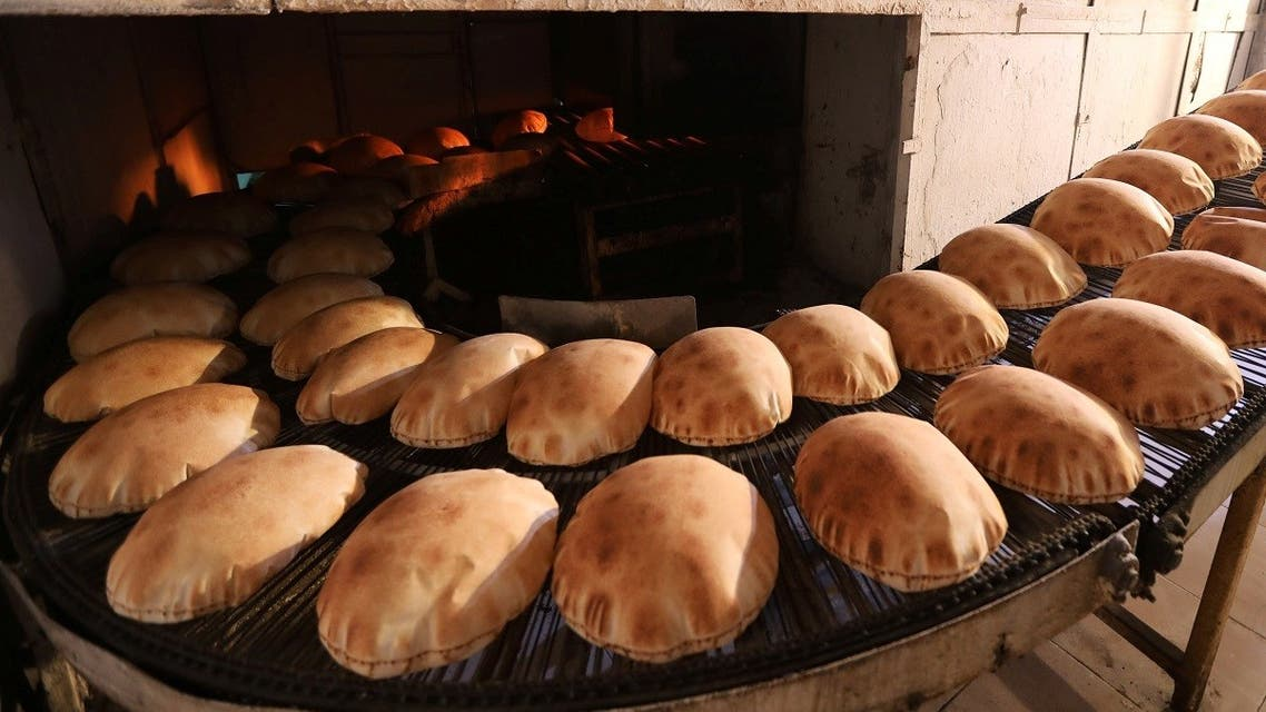 Freshly baked bread cools at a bakery in Beirut, Lebanon June 30, 2020. (Reuters)