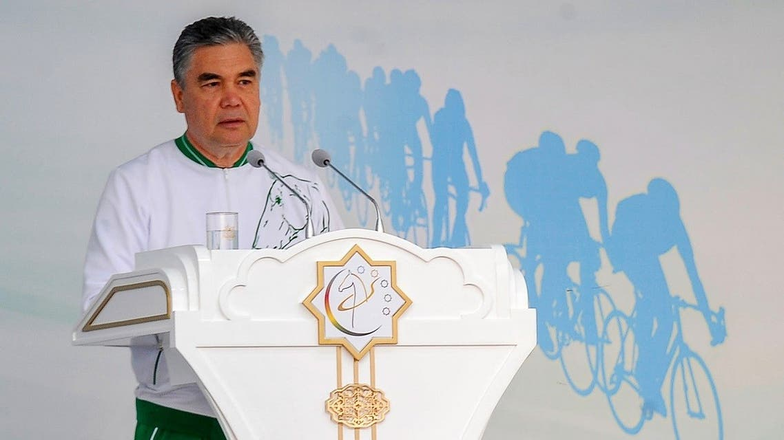 Turkmenistan's President Gurbanguly Berdymukhamedov delivers a speech on stage as he attends World Bicycle Day in Ashgabat on June 3, 2020. (AFP)