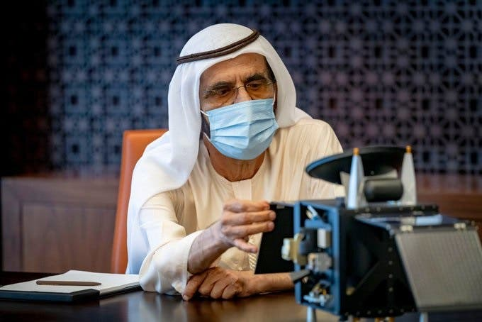 Sheikh Mohammed bin Rashid Al Maktoum reviewing the final preparations of the Hope Probe, scheduled to launch to Mars on July 15. (Twitter/via @DXBMediaOffice)