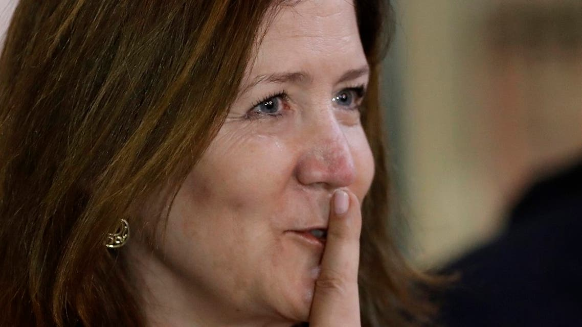 US Ambassador to Lebanon Dorothy Shea, gestures after her meeting with Lebanese Foreign Minister Nassif Hitti, June 29, 2020. (File photo: AP)