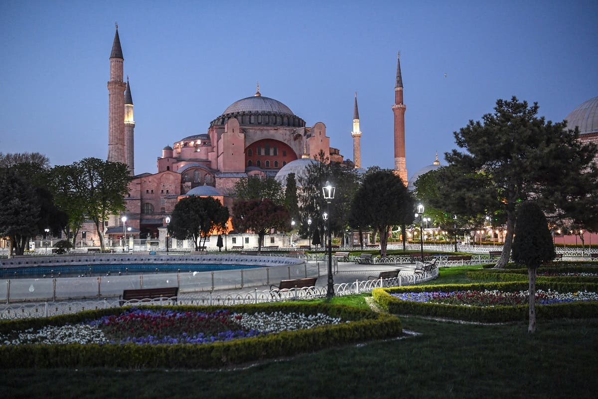 A picture taken on April 24, 2020 shows the Blue Mosque square with Hagia Sophia museum in background. (AFP)
