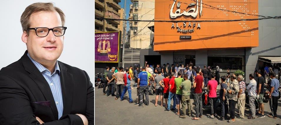 محتشدون بحثاً عن الرغيف في بيروت، وصورة للدكتور مارتن كيولرتس