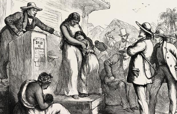 رسم تخيلي لعمليات بيع العبيد بأميركا
