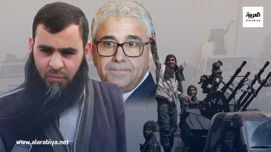 زعيم ميليشيا الدعم عبدالرؤوف كاره ووزير داخلية الوفاق فتحي باشاغا وفي الخلفية ميليشيات طرابلس