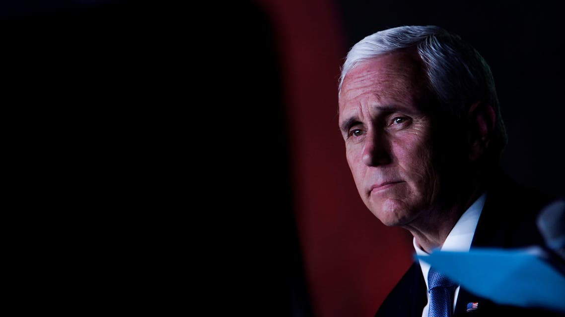 U.S. Vice President Mike Pence looks on during an event with community and faith leaders at Hope Christian Church in Beltsville, Maryland, U.S., June 5, 2020. REUTERS/Eric Thayer