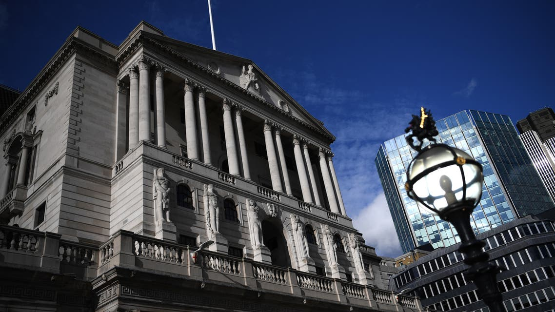 In this file photo taken on March 11, 2020, a general view of the Bank of England is pictured in London. (AFP)
