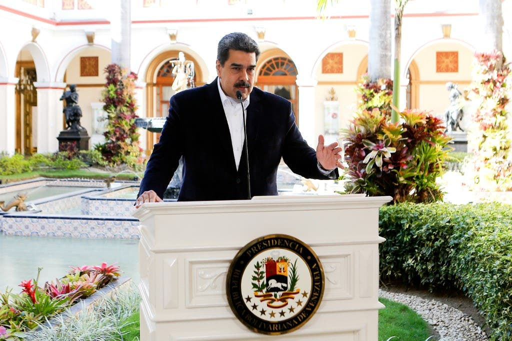 Venezuela's Nicolas Maduro making a televised announcement at the Miraflores Presidential Palace, in Caracas, on March 15, 2020. (AFP)