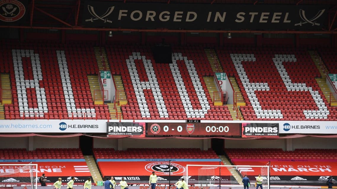 Bramall Lane, Sheffield, Britain - June 28, 2020 General view of players during the warm up before the match, as play resumes behind closed doors following the outbreak of the coronavirus. (Reuters)