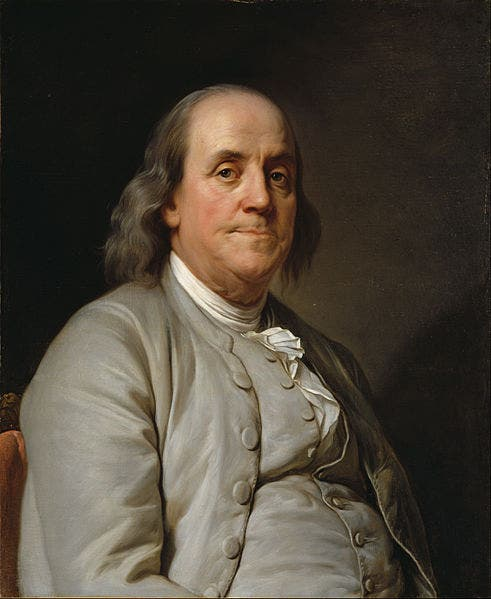 لوحة زيتية تجسد شخصية فرانكلين بنجامين