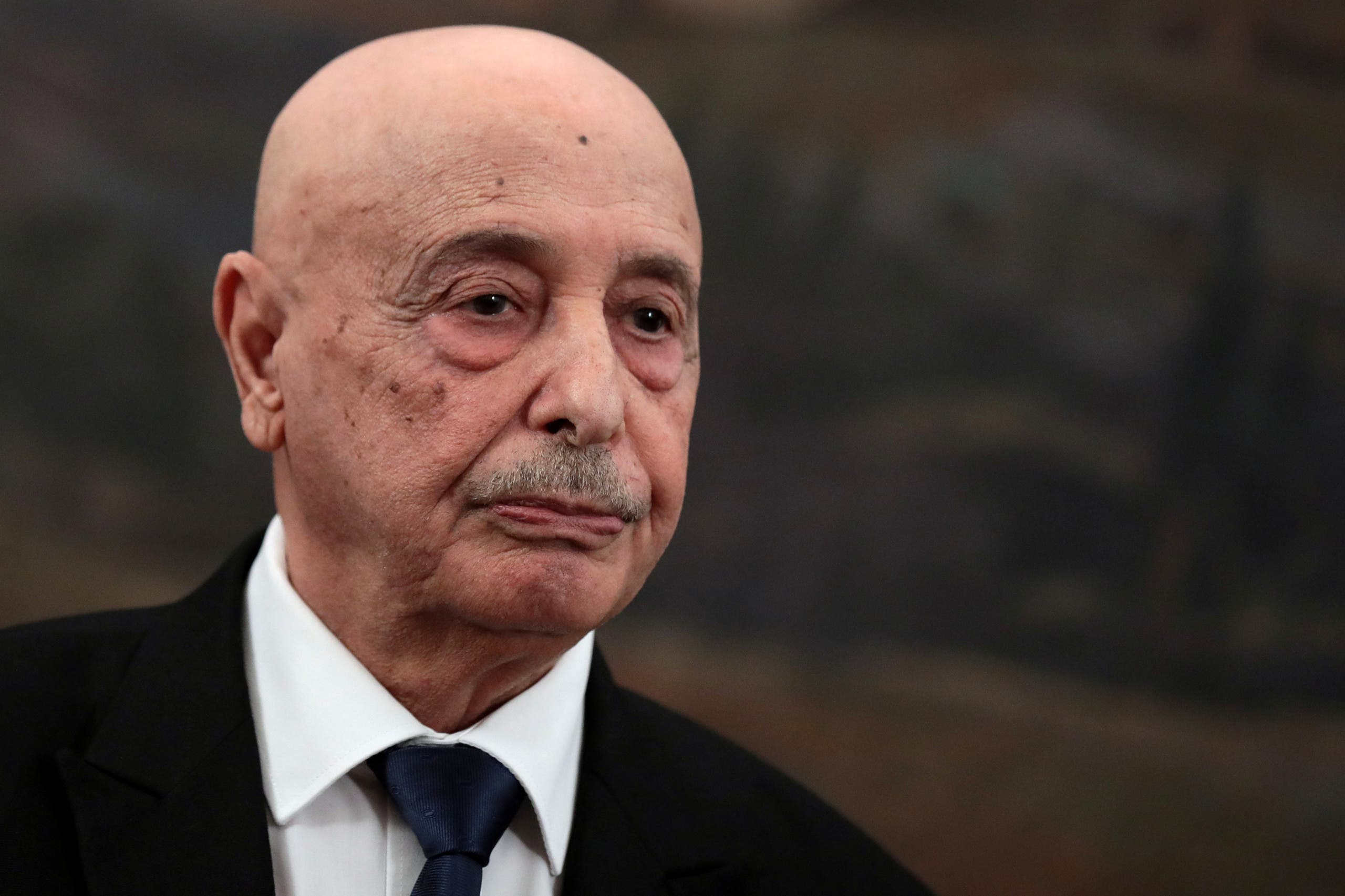Libya's parliament speaker Aguila Saleh, looks on during a joint statement with Greek parliament speaker Konstantinos Tasoulas and Greek Foreign Minister Nikos Dendias (not pictured) following their meeting, at the parliament in Athens, Greece December 12, 2019. (File photo: Reuters)
