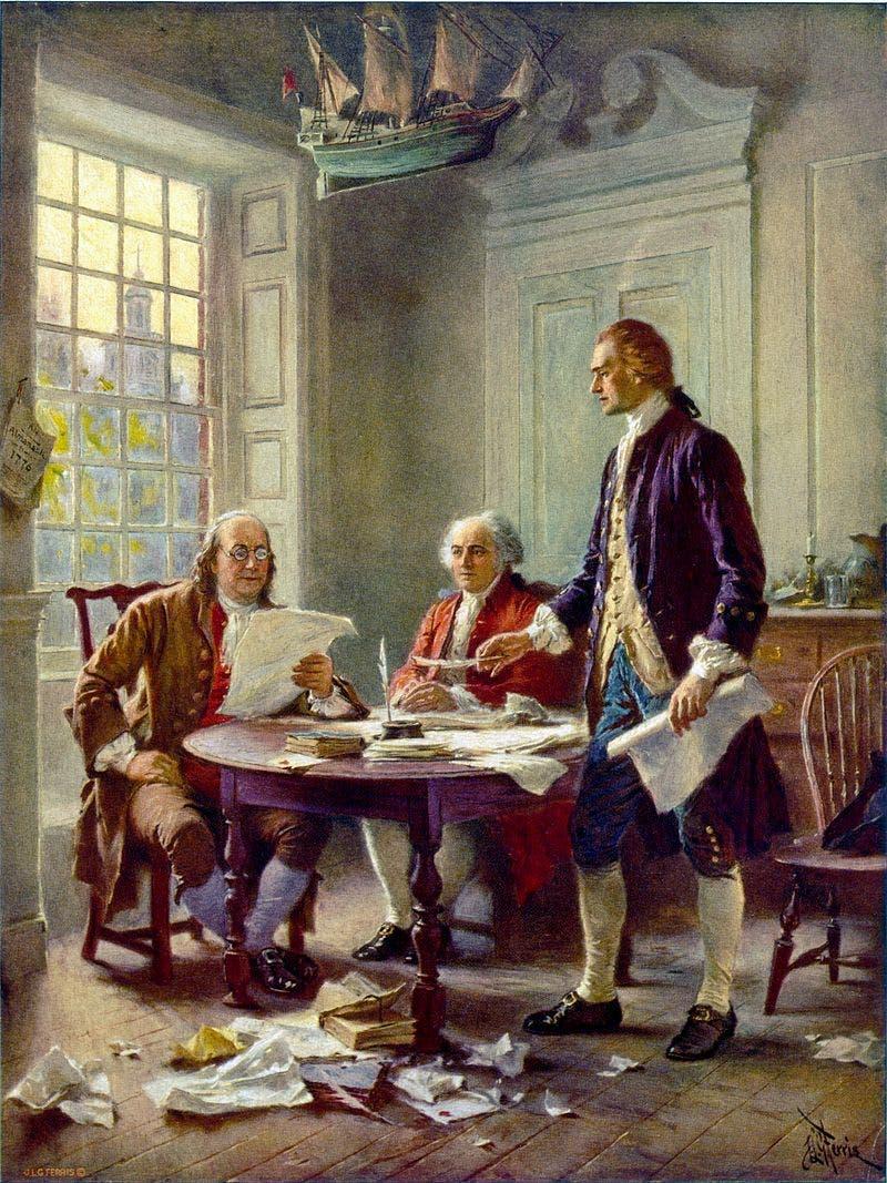 صورة تجمع بين جيفرسون وأدامز وبنجامين أثناء مراجعة وثيقة الاستقلال