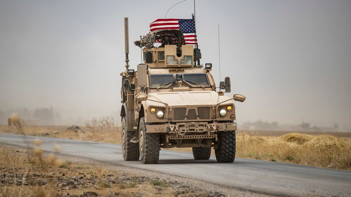 A US military vehicle near an oil field in Syria's northeastern Hasakeh province on July 1, 2020. (Reuters)