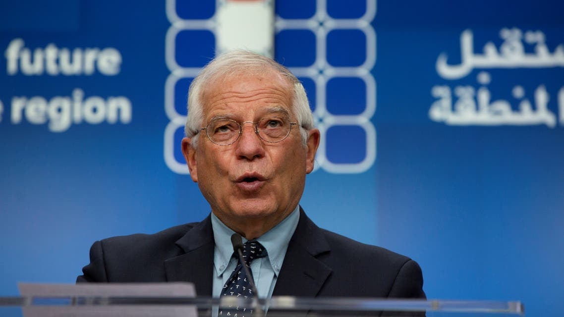 European Union Foreign Policy Chief Josep Borrell speaks during a news conference after a meeting Supporting the future of Syria and the Region, in videoconference format, at the European Council building in Brussels, Belgium June 30, 2020. Virginia Mayo/Pool via REUTERS