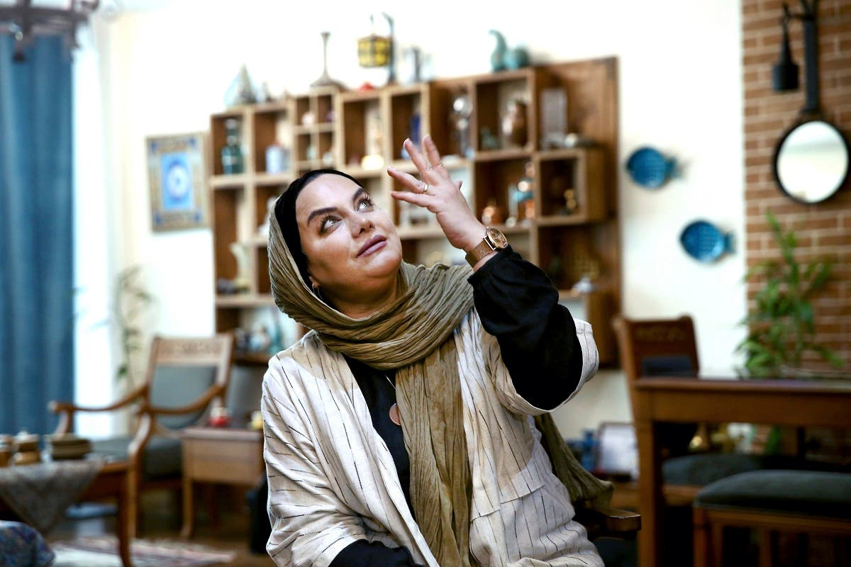 In this Saturday, Oct. 21, 2017 photo, Iranian film director Narges Abyar gestures gives an interview with The Associated Press at her home, in Tehran, Iran. (AP)
