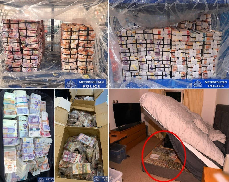 قسم من 10 صور وزعتها وكالة الجرائم البريطانية، لما تم مصادرته من مال نقدي في المداهمات