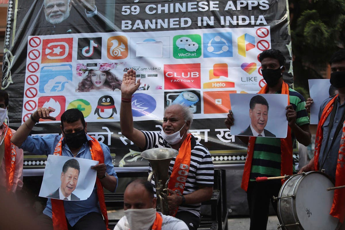 Activists of Jammu and Kashmir Dogra Front shout slogans against Chinese President Xi Jinping during a protest in Jammu, India, on July.1, 2020. (AP)