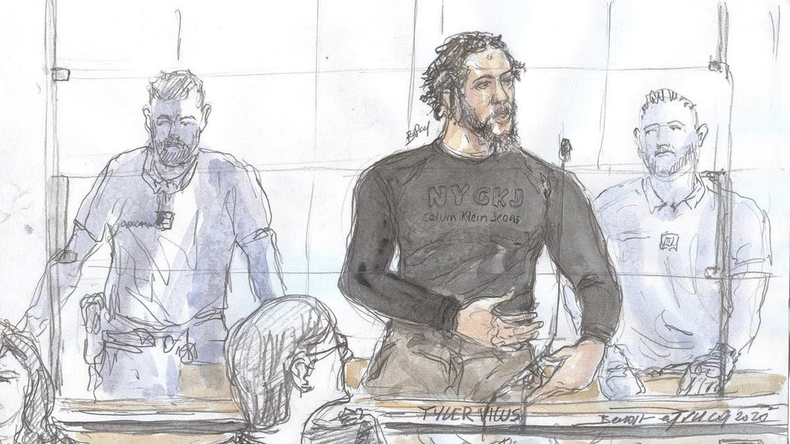 A court sketch made on June 25, 2020 at the Paris courthouse shows French jihadist also called the Islamic State emir Tyler Vilus speaking during the opening of his trial. (AFP)
